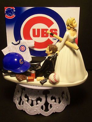 Chicago Cubs Baseball Bride And Groom Wedding Cake Topper