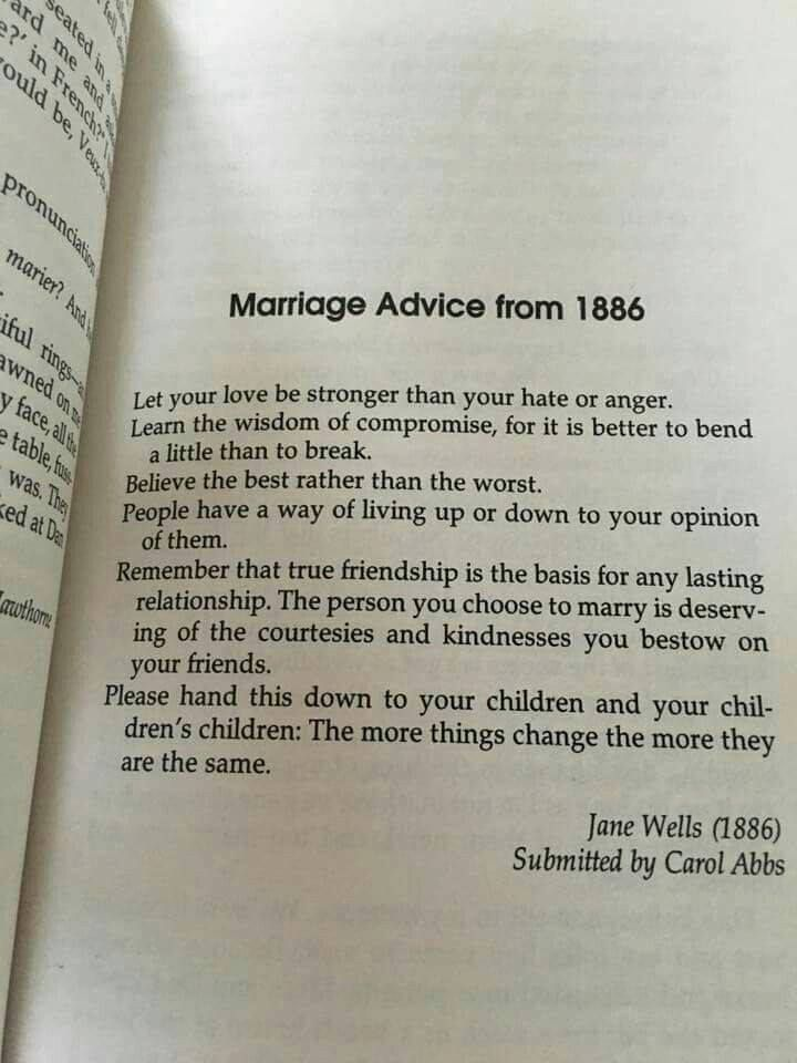 Marriage Advice from 1886 - Jane Wells. | Words ...