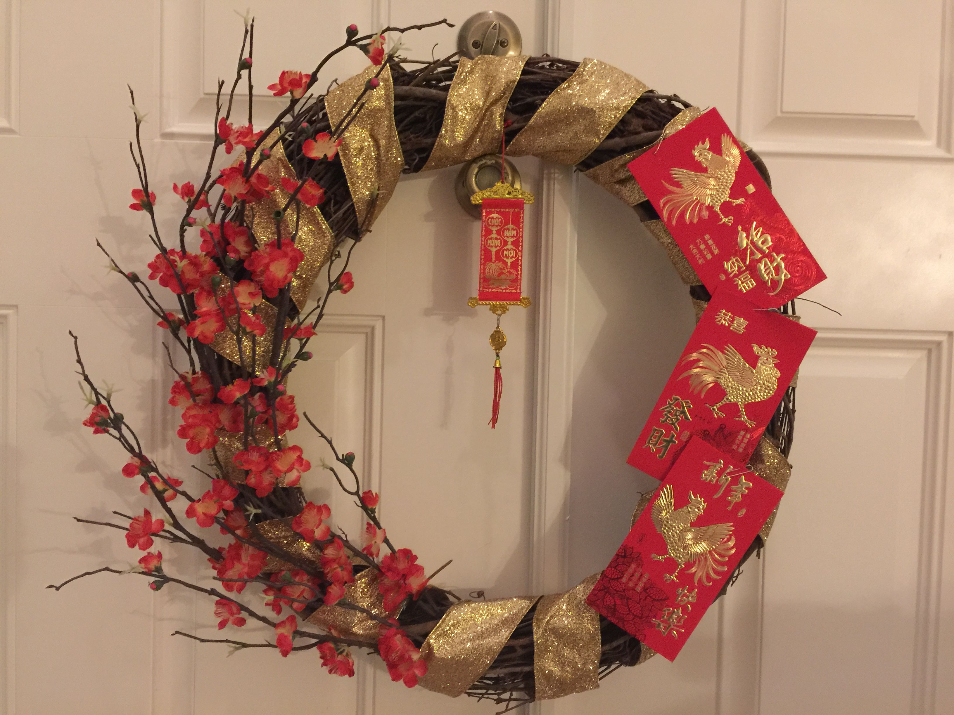 Chinese New Year Wreath (Year Of The Rooster) Chinese New