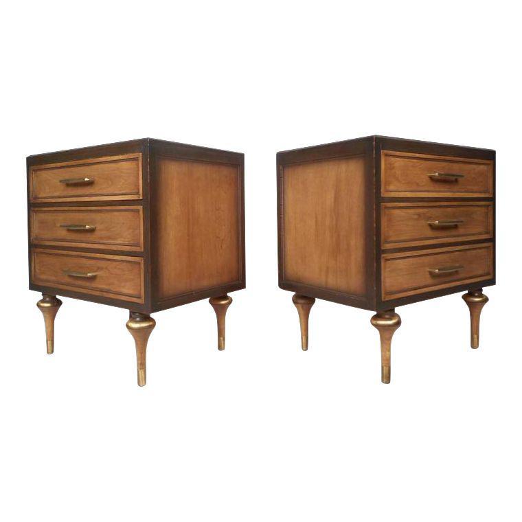 Vanleigh Furniture Mid Century Modern Three Drawer Nightstands A