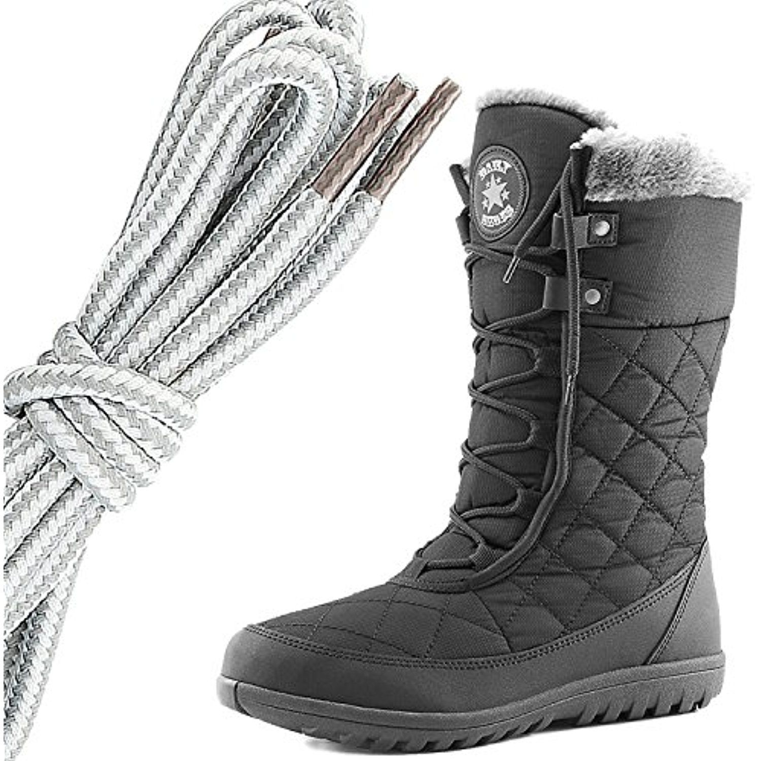 Women's Comfort Round Toe Mid Calf Flat Ankle High Eskimo Winter Fur Snow Boots Brown Taupe