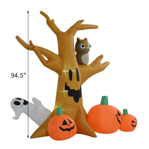 Lighted Halloween Scary Tree Ghosts 8Ft Airblown Yard Decoration Owl - halloween lighted decorations