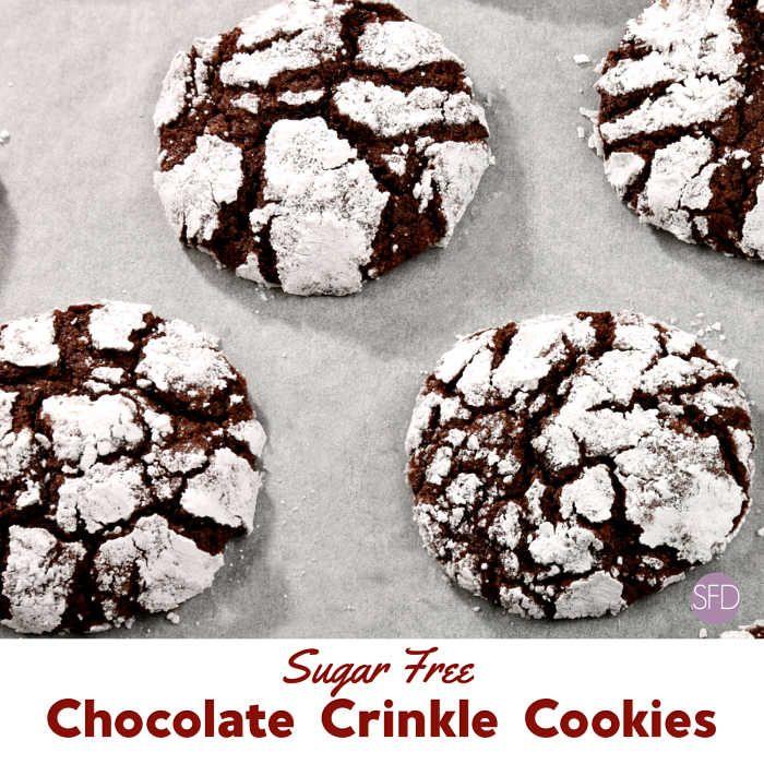 Sugar Free Chocolate Crinkle Cookies #sugarfreedesserts