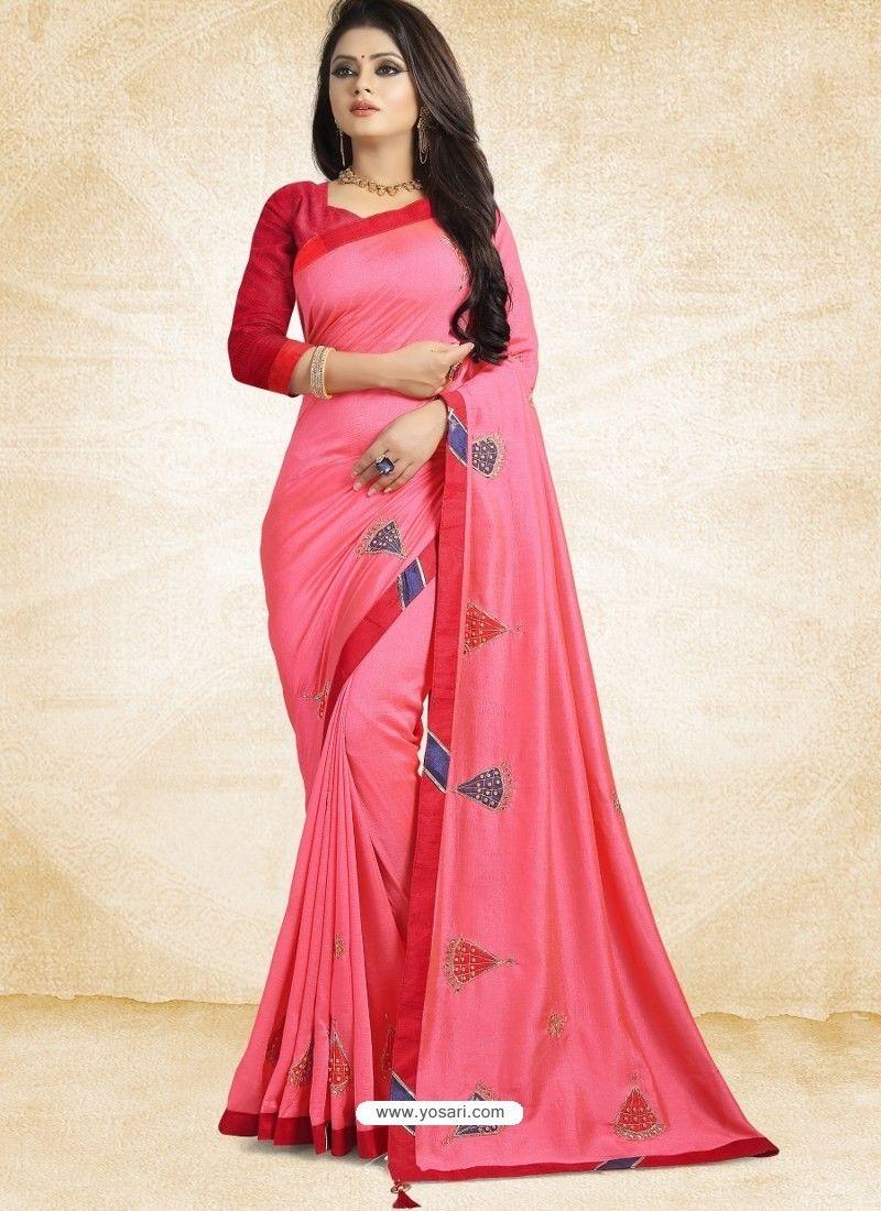 88db15ab21 Hot Pink Vichitra Silk Embroidered Designer Saree in 2019 | DESIGNER ...