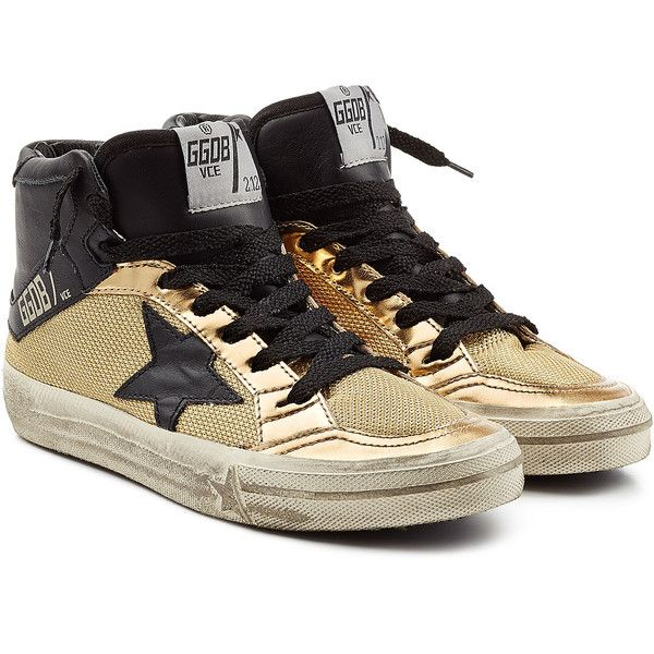 Golden Goose 2.12 Leather and Mesh High-Top Sneakers (1.480 NOK) ❤ liked on Polyvore featuring shoes, sneakers, gold, black leather sneakers, black shoes, black sneakers, black high top sneakers and metallic gold sneakers