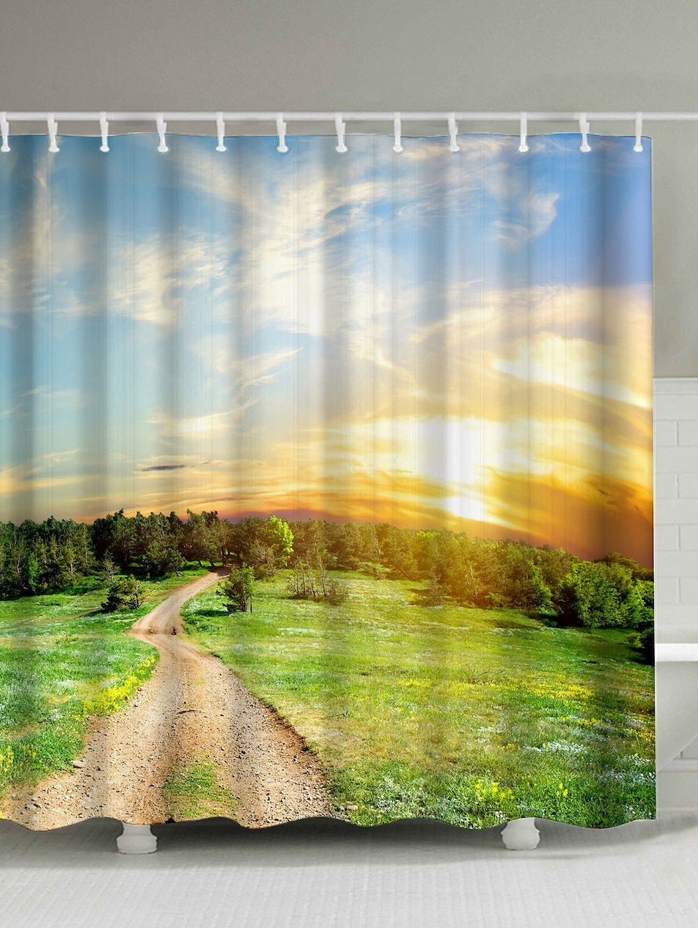 Nature Scenery Print Waterproof Fabric Shower Curtain Fabric