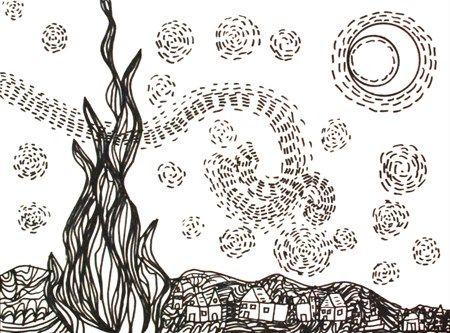grade 2: 'Van Gogh Starry Night Line Drawing' Morgen43's