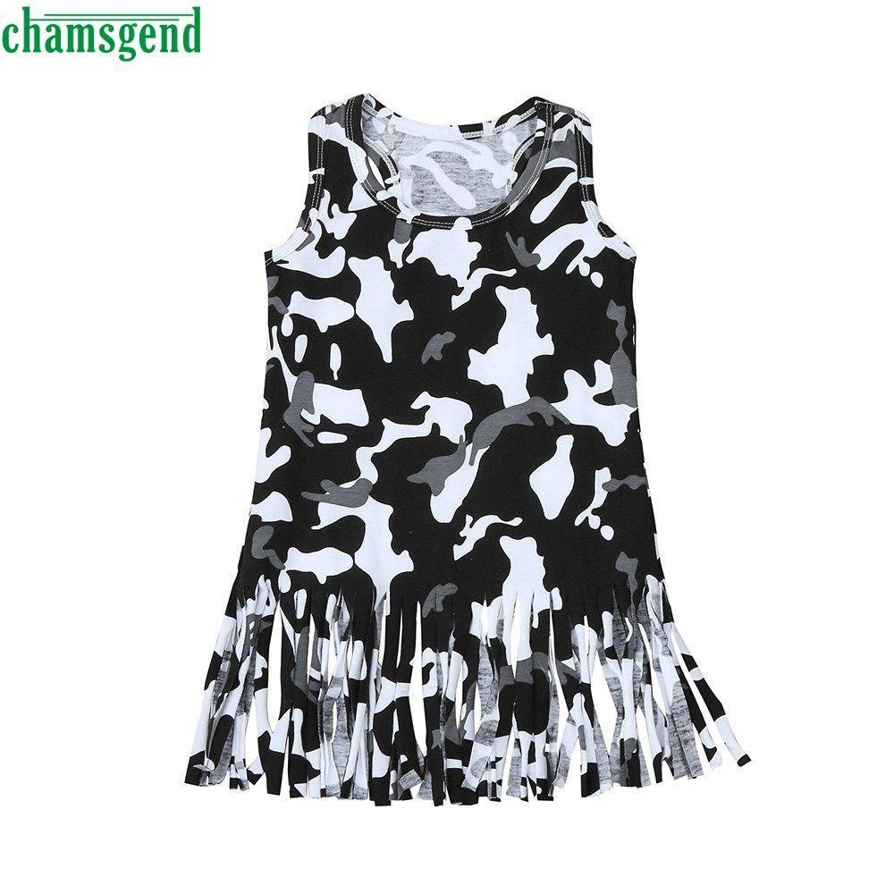 Chamsgend fashion black camouflage baby girl kids print oneck