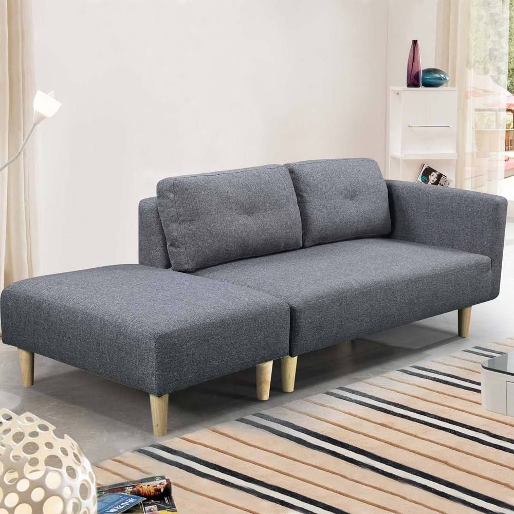 200 7mar18 Modern 2 3 Seater Small Sofa Couch Grey Fabric Footstool Cheap Ebay Small Sofa Small Comfortable Sofa Stylish Sofa