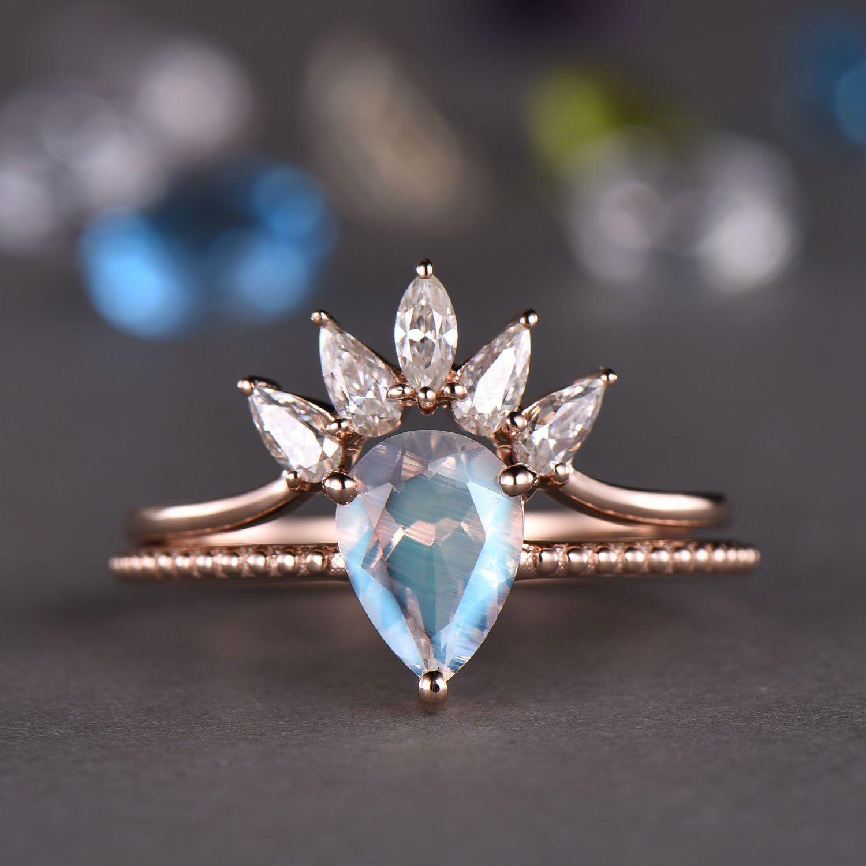 Moonstone Engagement Ring Set Rose gold Moissanite wedding