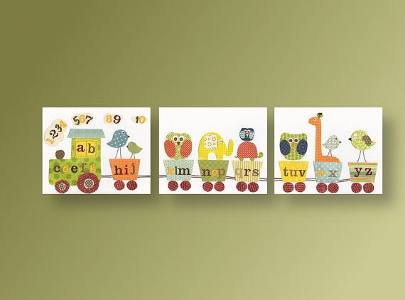 Alphabet Train Nursery Zoo Art Boy Decor Elephant Owl Giraffe Bird Kids Playroom Set Of 3 Prints Anais Fun