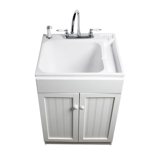 Shop Asb Polypropylene Freestanding Utility Sink With Cabinet At