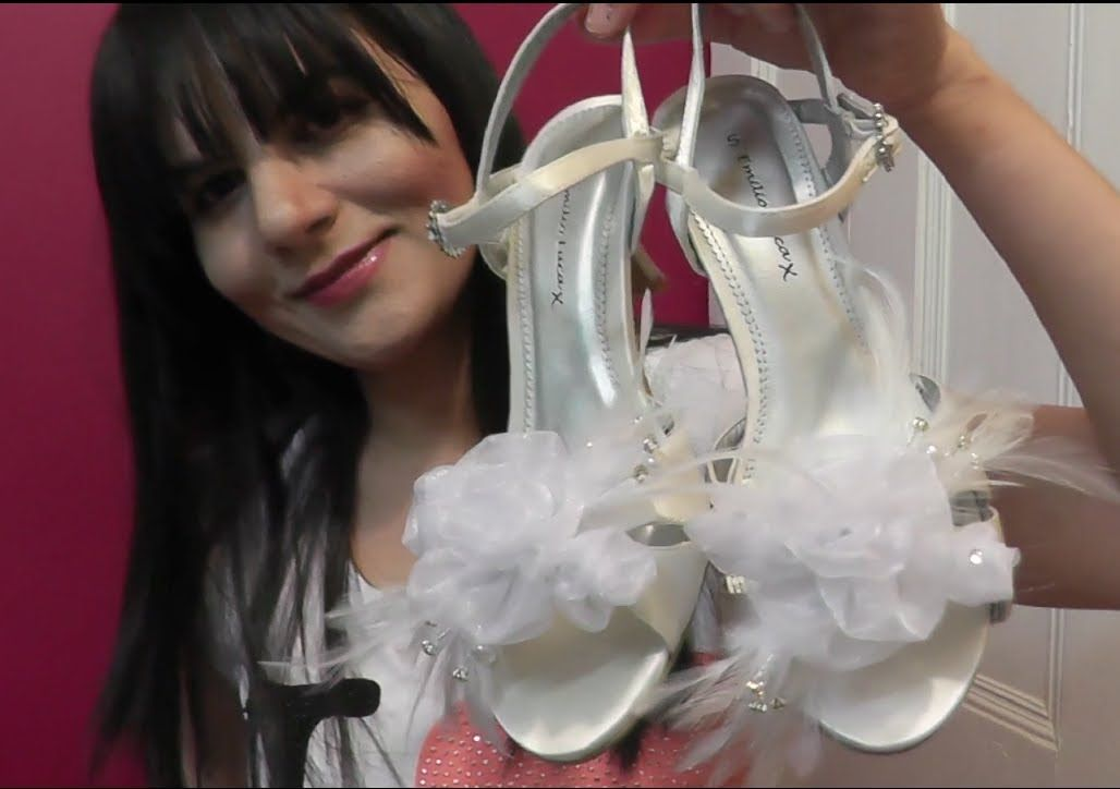 Decorate Wedding /Prom Shoes.DIY.(recycle necklace) Make Organza Rose Fl...