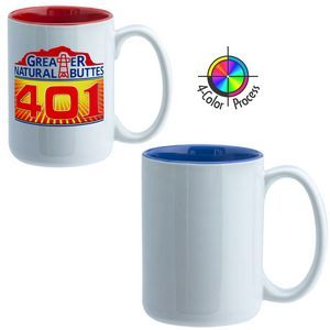 15 Oz. El Grande Mug - 4 Color Process (White/Royal Blue Interior)
