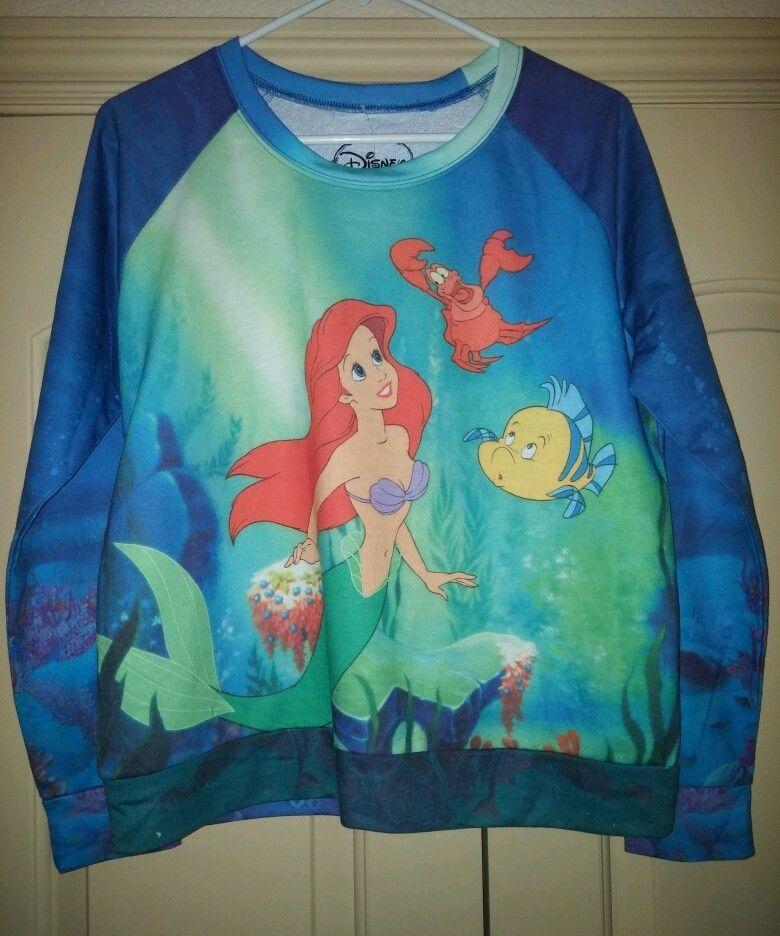 babb89550 NEW Rare Women's Disney Little Mermaid Ariel Flounder Sweater Long Sleeve  Top