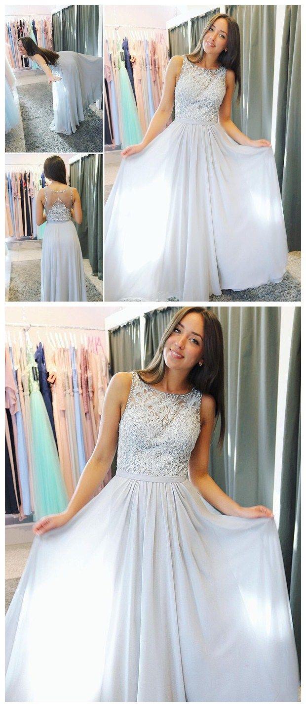 Glamorous chiffon scoop neckline aline prom dresses with beaded