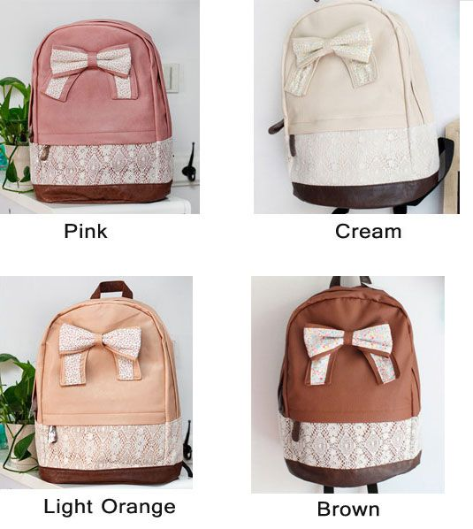 5ae1ef608970 Crazycity New Top Trendy Cute Korean Lace Backpack College Style Leisure Canvas  Backpack Gilr s Lovely Bow