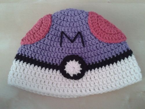 Find the free crochet pattern here to make a Masterball pokeball hat ...