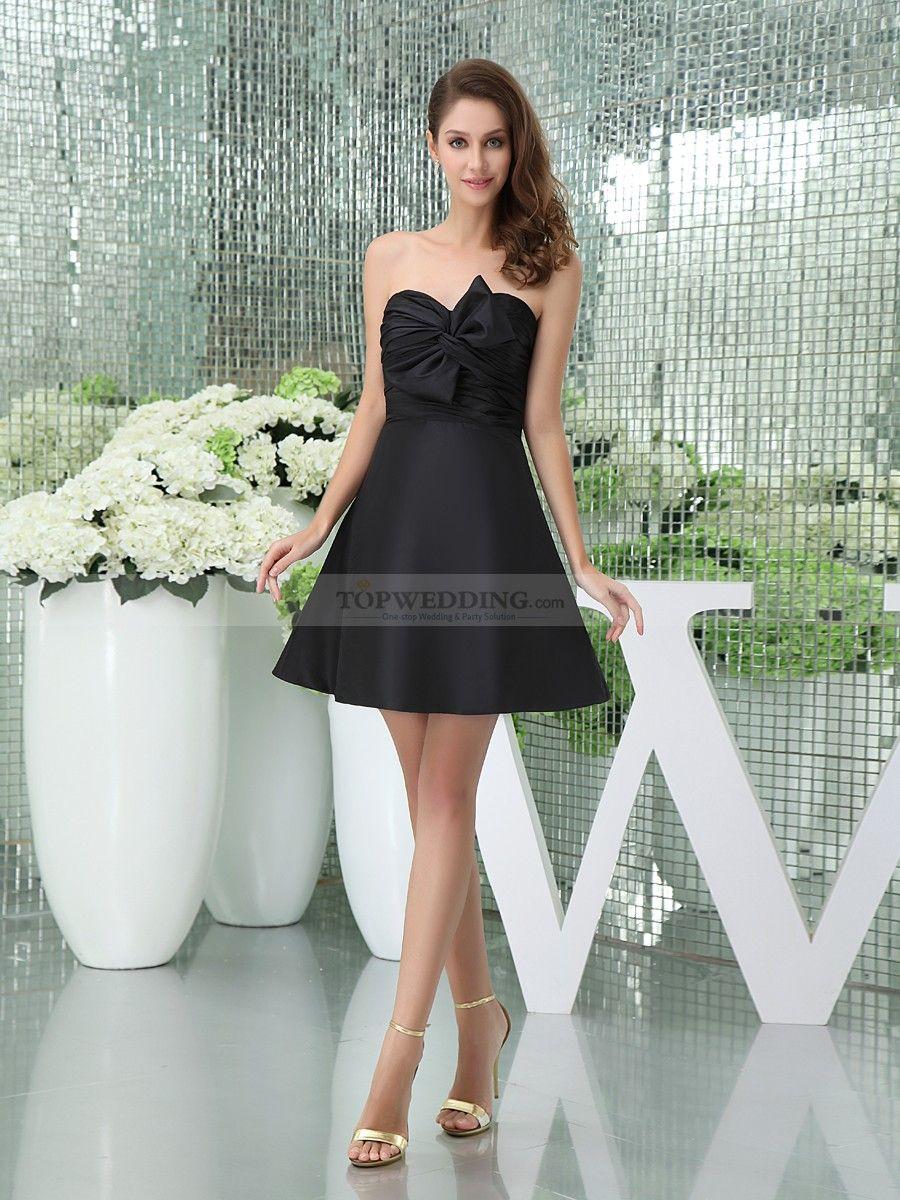 Taffeta strapless a line mini bridesmaid dress with bowknot minis