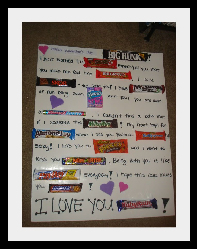 Candy Bar Valentines Card I did this for Ron on our first – Valentine Card Ideas with Candy