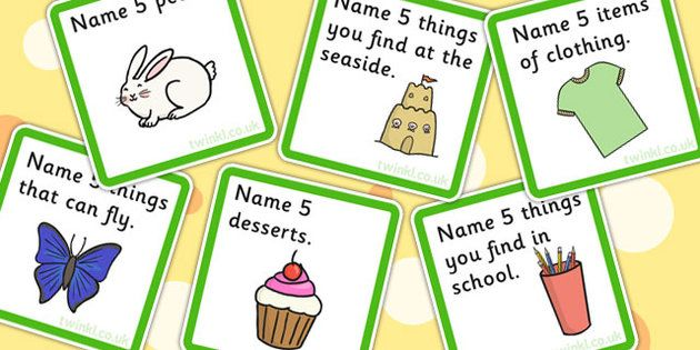 Name 5 Things Categories Card Game Card Games For Kids Card Games Learning A Second Language
