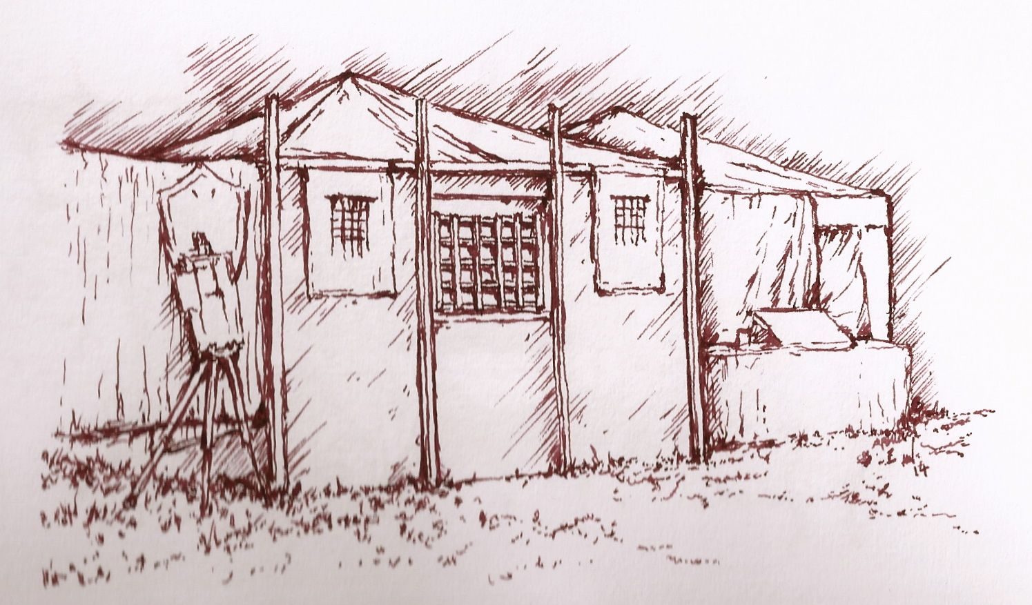 A pen and ink illustration of a Bankers' Kiosk, drawn by Alan Whittle whilst attending the LRP event (Derby) over the late BH weekend of May 2014