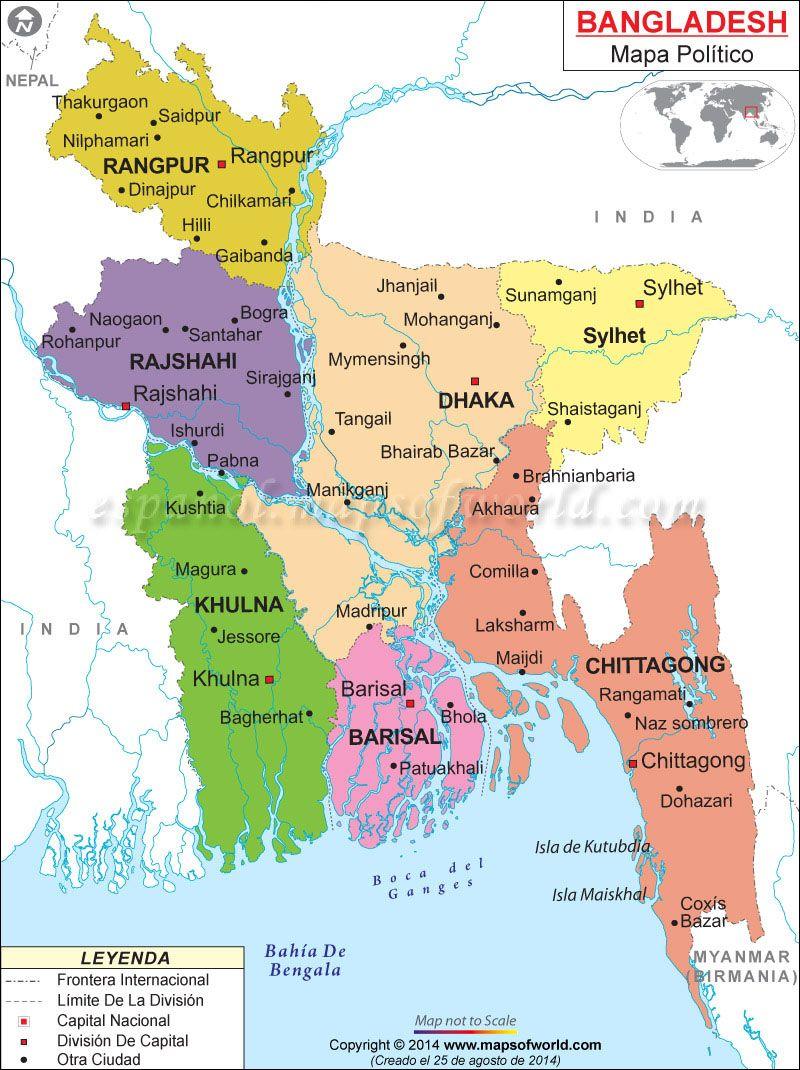 Bangladesh Mapa  Mapa de Pases  Pinterest  Asia
