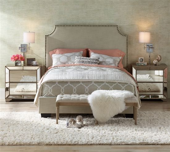 Bedroom Design French Bench At Foot Of Bed With Faux Fur Throw