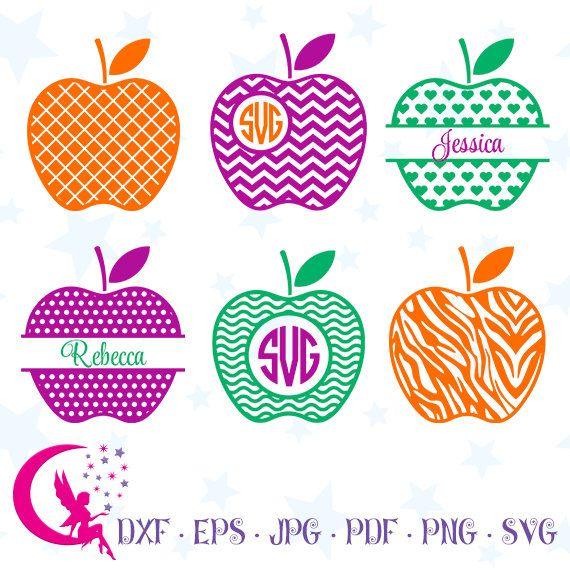 Apple SVG, Set of Apple Designs, Teacher Monogram, Apple DXF, Monogram Apple, Instant Download,0-26f