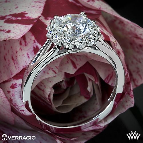 Verragio Split Shank Halo Solitaire Engagement Ring - ENG-0356 - Verragio Classico Collection. The designer engagement ring features 0.45ctw (F/G VS) round brilliant cut diamond melee to enhance a round diamond center of your choice. The width tapers from 3.0mm at the top down to 1.6mm at the bottom.