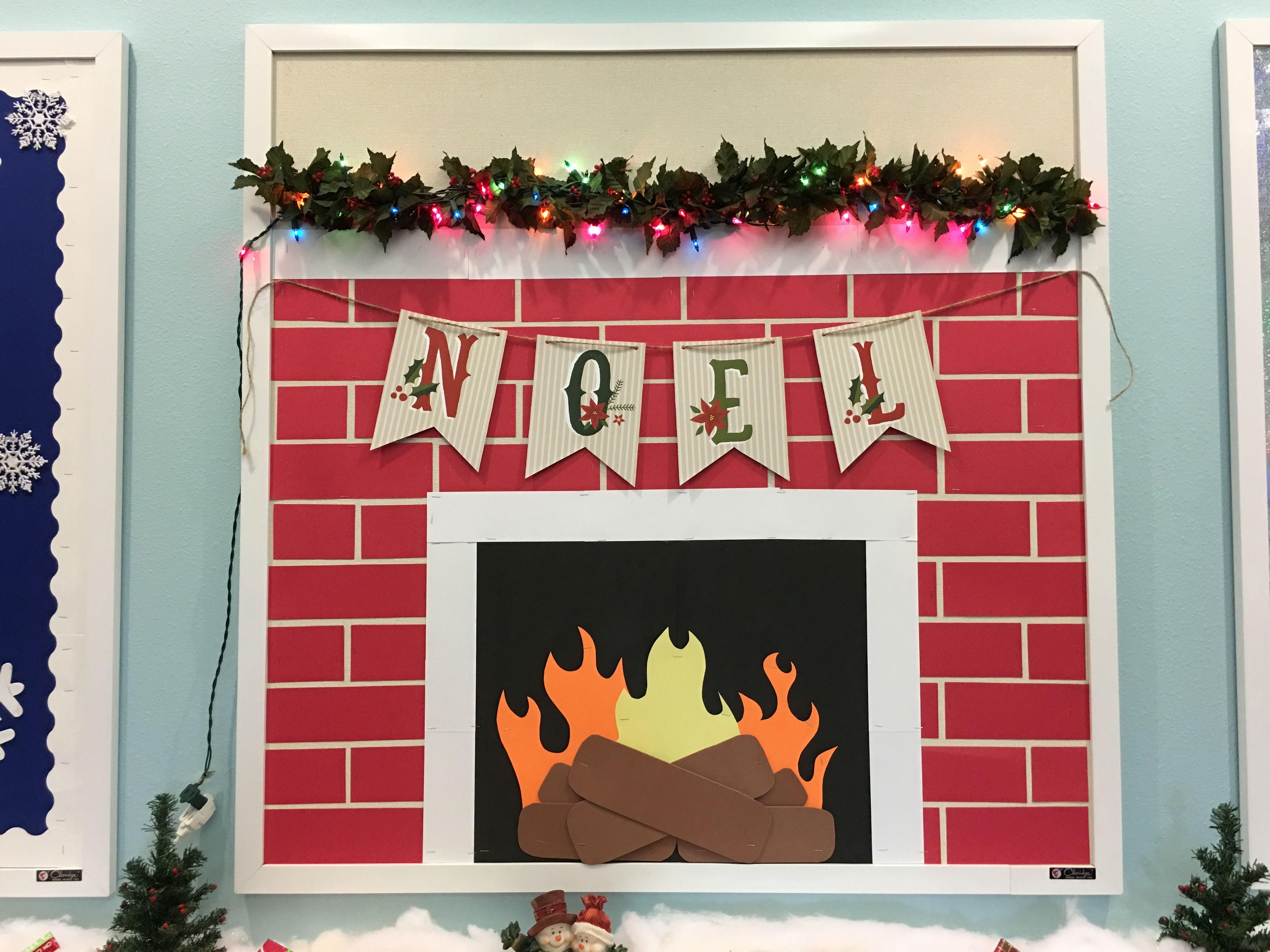 Christmas Fireplace Bulletin Board Christmas Door Decorations
