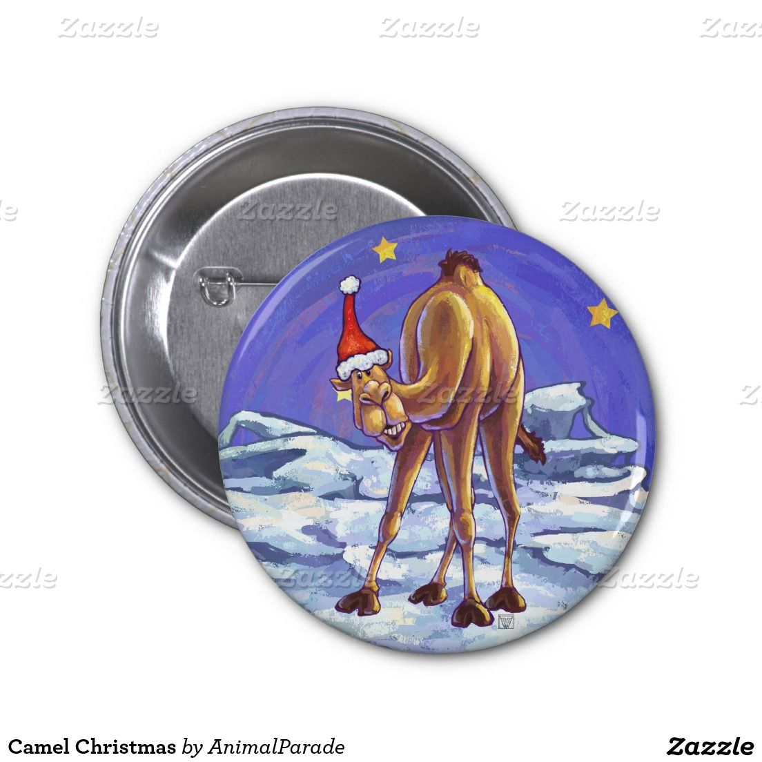Camel Christmas 2 Inch Round Button Festive Button by Animal Parade.