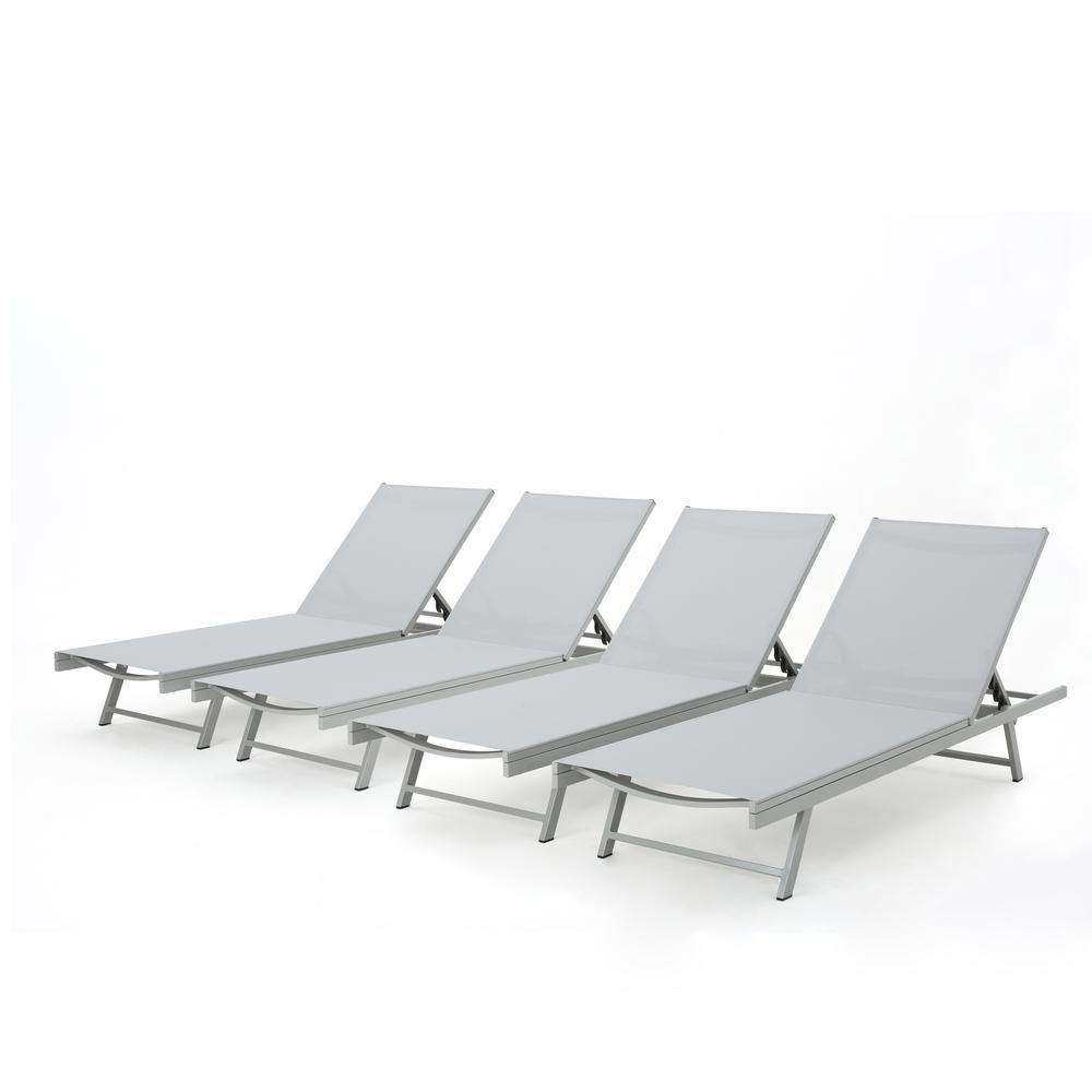 Elijah Patio Furniture.Noble House Elijah Dark Grey Adjustable 4 Piece Metal Outdoor Chaise