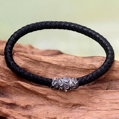 Men's Braided Leather Bracelet - Aesthetics | NOVICA