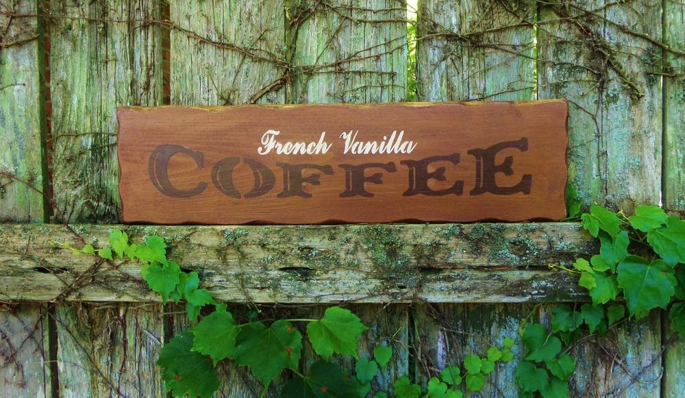 details about french vanilla coffee hand painted wood sign home kitchen decor cafe decor - Painted Wood Cafe Decoration
