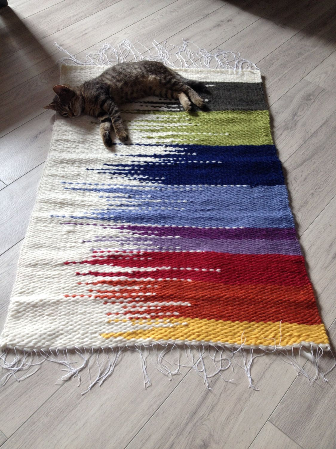 Woven Rug 100 Wool Loom Rag Rugs Shaggy Recycled Handmade Colorful Ss Hand Chindi Multicolor Pinned By