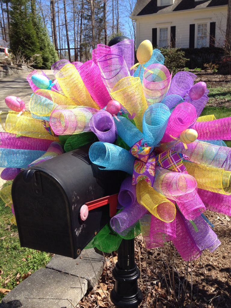 Easter Deco Mesh Mailbox Cover Mesh Ribbon Mailbox Wreaths Pinterest Easter Wreaths And