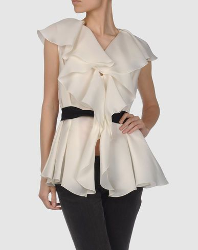 Gianfranco Ferre- I like this airy creamy ruffled top (but I wouldn't wear it w/ the black belt).