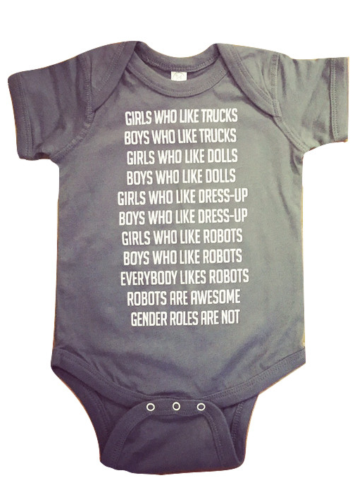 bc85f8ef96c8 Robot Gender Roles Feminist Baby Bodysuit in Gray