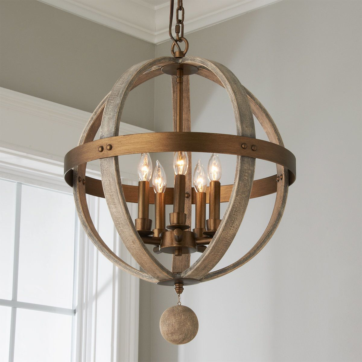 Refined Wood Globe Chandelier In 2021 Wood And Metal Chandelier Wooden Light Fixtures Globe Chandelier