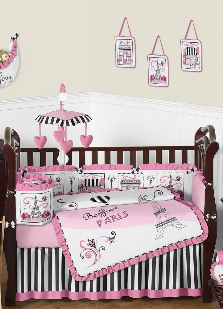 Pink and Black Paris Baby Bedding 9Piece Crib Set Crib