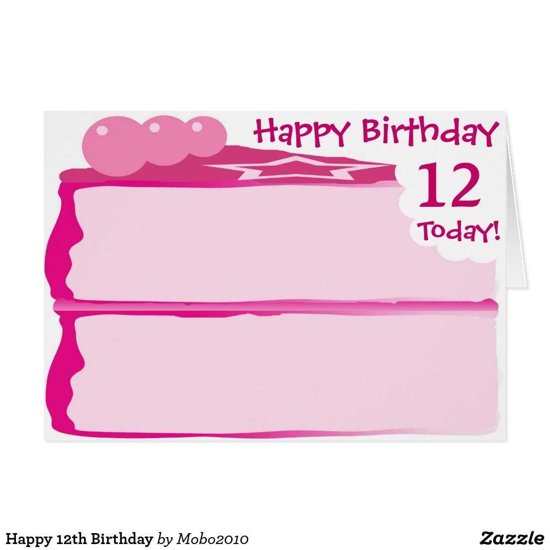 Happy 12th Birthday Birthday Cards Ages 1 100 Iced Pink Cake