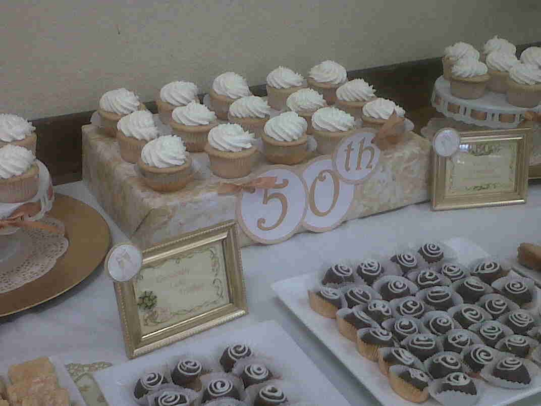 50th wedding anniversary dessert tablescape for luncheon party