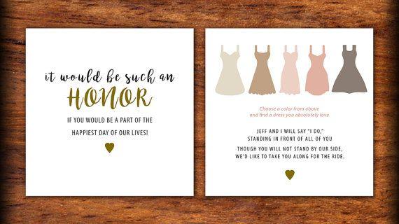 3x3 Printed Womens Bridal Party Invite Ask Non Bridesmaid Or