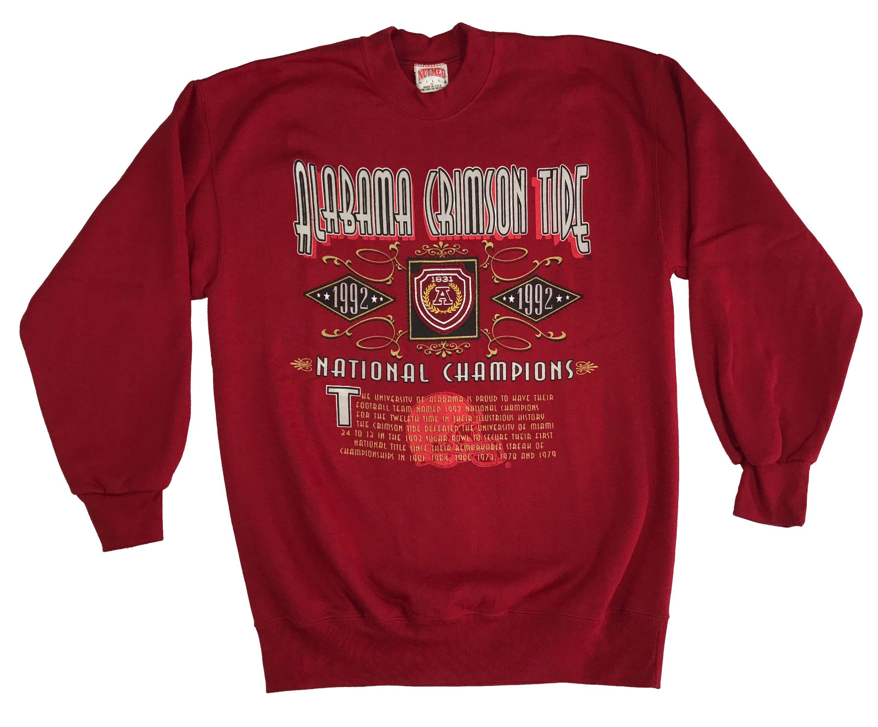 1992 Alabama Crimson Tide National Championship Nutmeg Sweatshirt Xl Alabama Crimson Tide Crimson Tide Crimson [ 2415 x 2915 Pixel ]