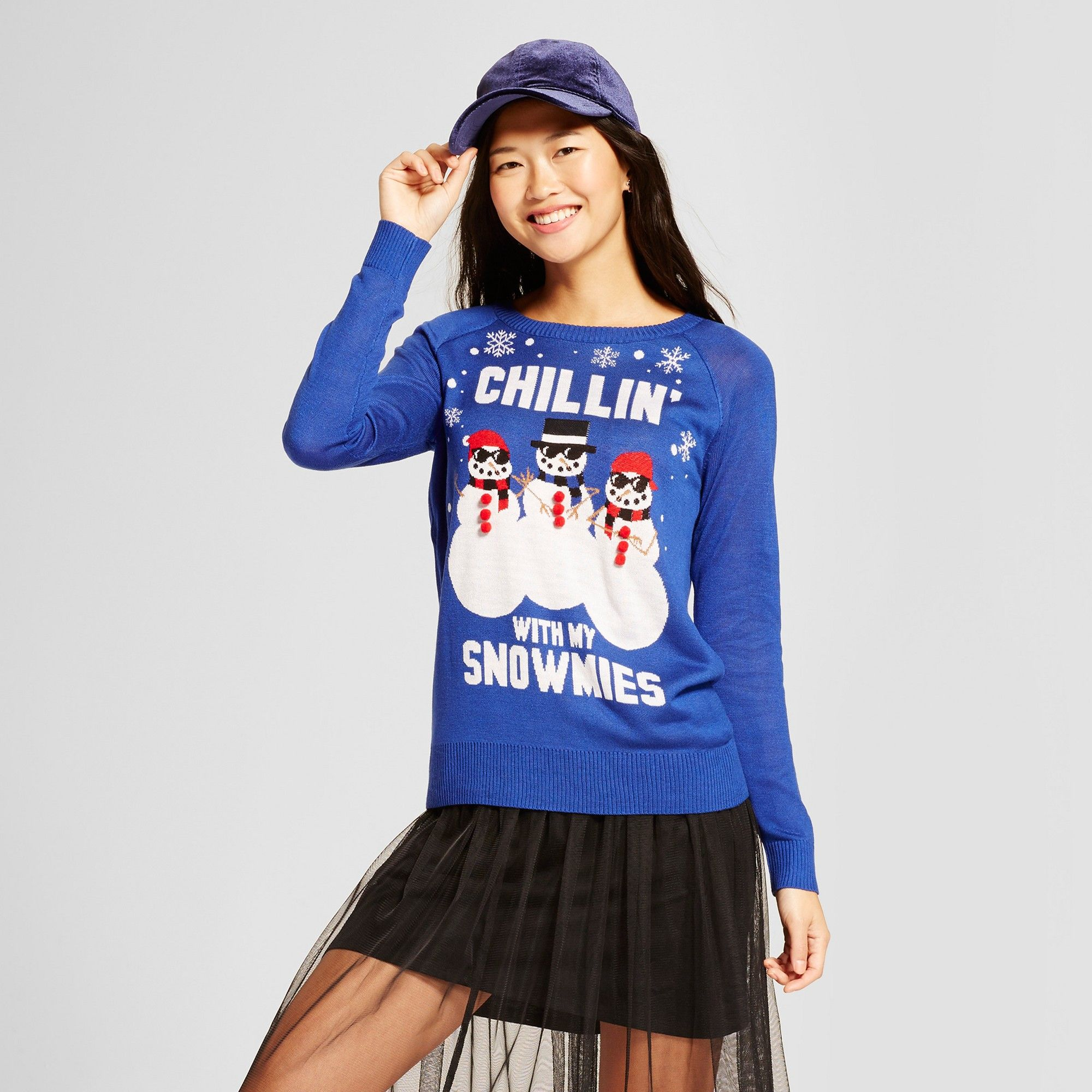 Womens Chillin With My Snowmies Long Sleeve Ugly Christmas Sweater