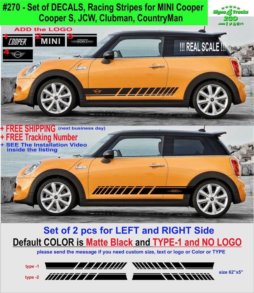 0270 Racing Stripes Vinyl Decal Side Mini Cooper S Jcw Gp Clubman Countryman Mini Cooper Mini Cooper S Vinyl Door Decal