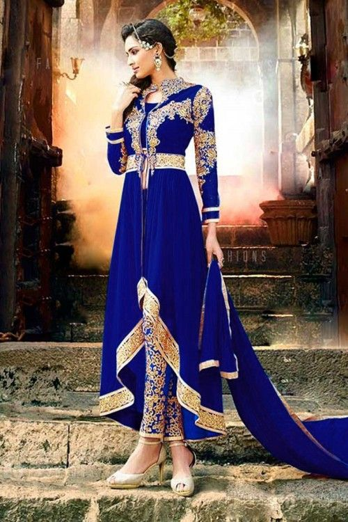 1e9d58c604 Sensational Royal Blue Anarakali Suit with Cigarette Pant Designer Anarkali