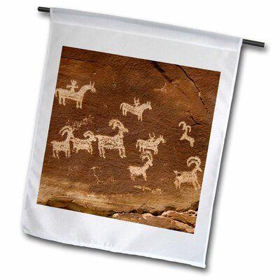 3dRose Ute Petroglyphs, Arches National Park, Utah, USA Polyester 1'6 x 1' Garden Flag #utahusa
