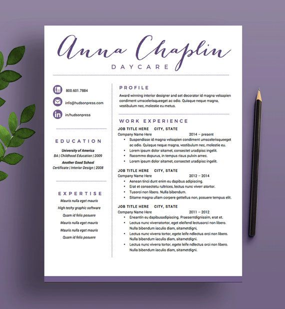 CREATIVE Resume Template, CV and Cover Letter, Modern Script Design